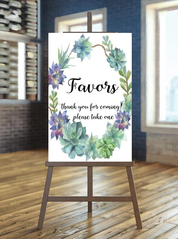 Hochzeit - Printable favors sign, Wedding favors sign, Floral wedding sign , Succulent favors sign, Succulent sign, Boho favors sign, Desert wedding