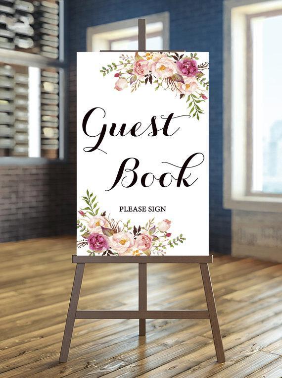 Mariage - Printable wedding sign, Wedding guest book sign, Rustic guest book sign, Floral guest book sign, Boho guest book sign, Calligraphy sign