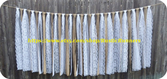 Wedding - Rustic Charm Barn Wedding Burlap and Lace Garlands, Swag, Rag Tie Backdrop, Lace Curtain, Shabby Chic hanging wedding decoration, backdrop