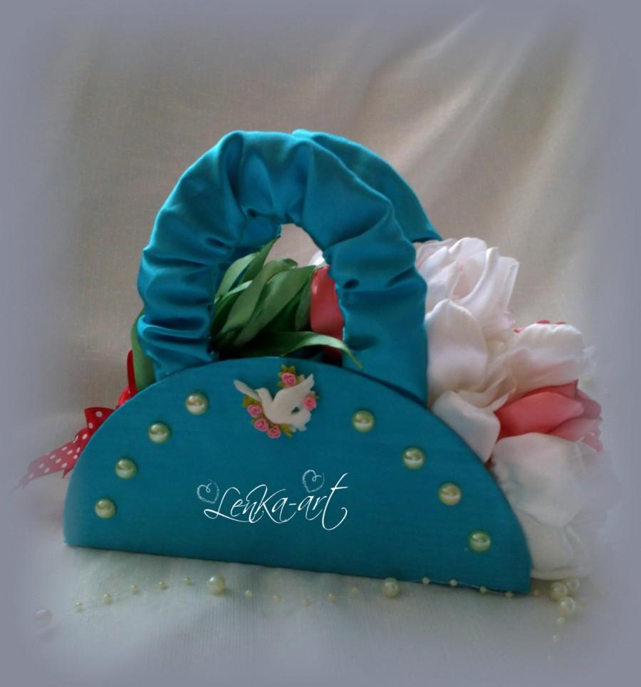 Wedding - Wedding bouquet Blue Purse Decoration with Flowers and Dove, Blue White Pink Home Decor, Hostess Gift, Purse Collector
