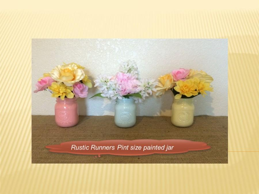 Wedding - Painted PINT size Mason jars for weddings, table decorations for Romantic, Rustic, Vintage, Shabby Chic Event