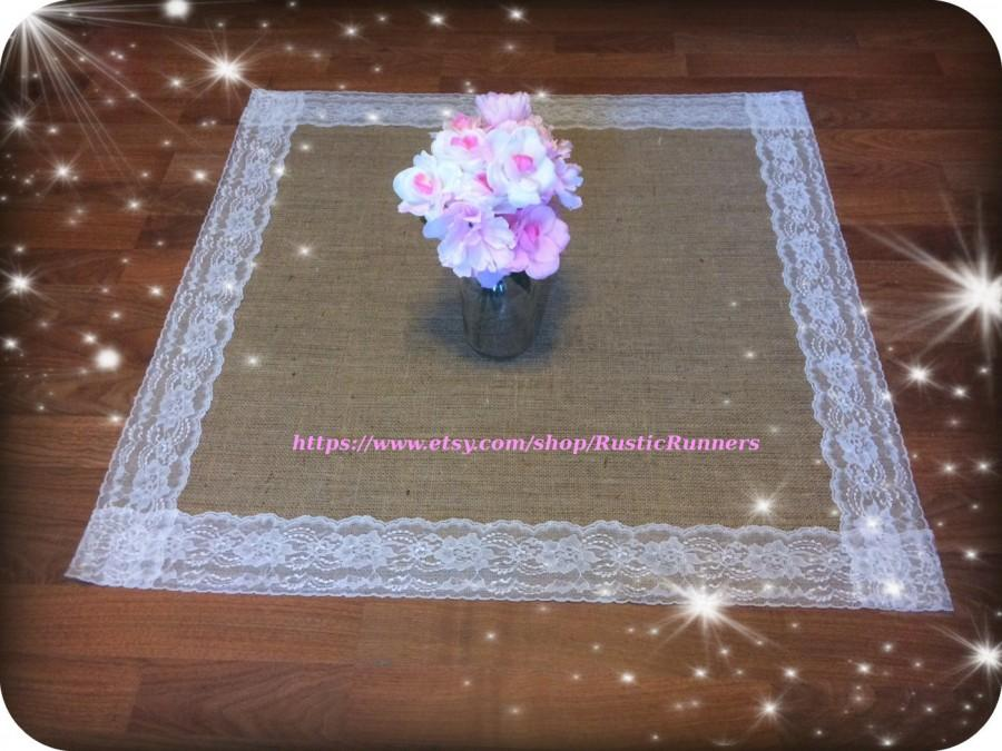Mariage - Rustic Charm  Wedding Burlap and Lace Table Square size 20 x 20 Ivory Lace Rustic Wedding Bridal shower decor Shabby Chic or Barn wedding