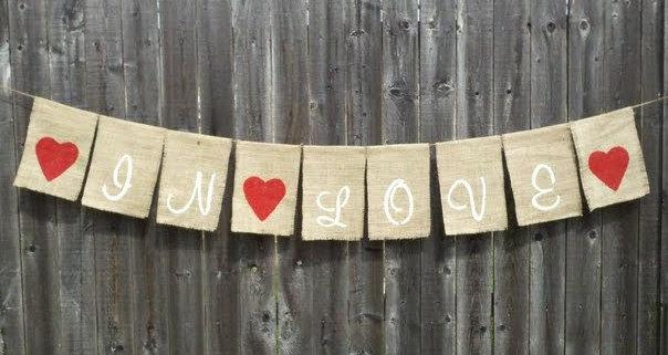 Mariage - Wedding 'In Love' Burlap Banner Decoration - hanging burlap signage