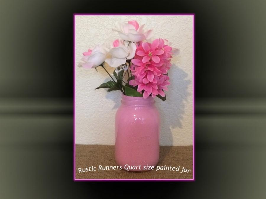 Mariage - Painted QUART size Mason jars for weddings, table decorations for Romantic, Rustic, Vintage, Shabby Chic Event