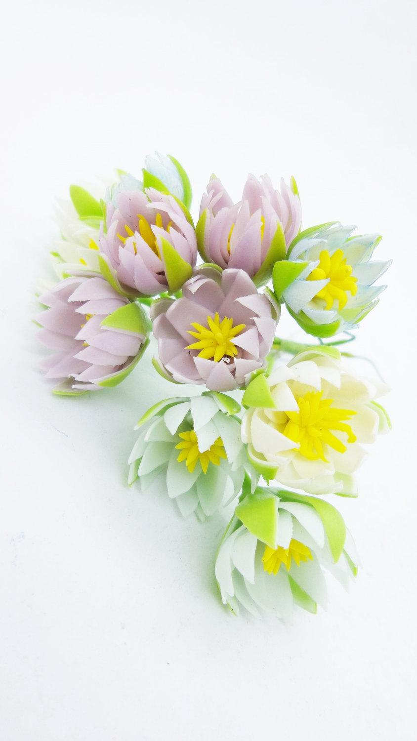 Mariage - Miniature Polymer Clay Flowers Supplies Water Lily 12 stems