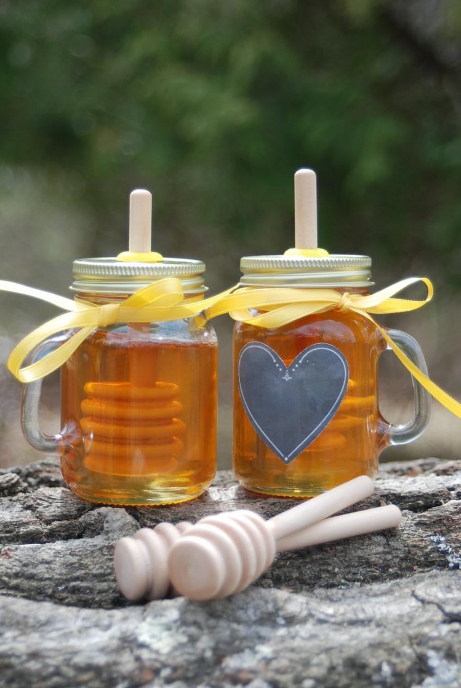 Mariage - Mini Mason Jar Cup Mug Honey Jar with Birch Dipper, Wedding Mason Jar, Party Favor, Bridal Shower, Christmas Gift, Stocking Stuffer
