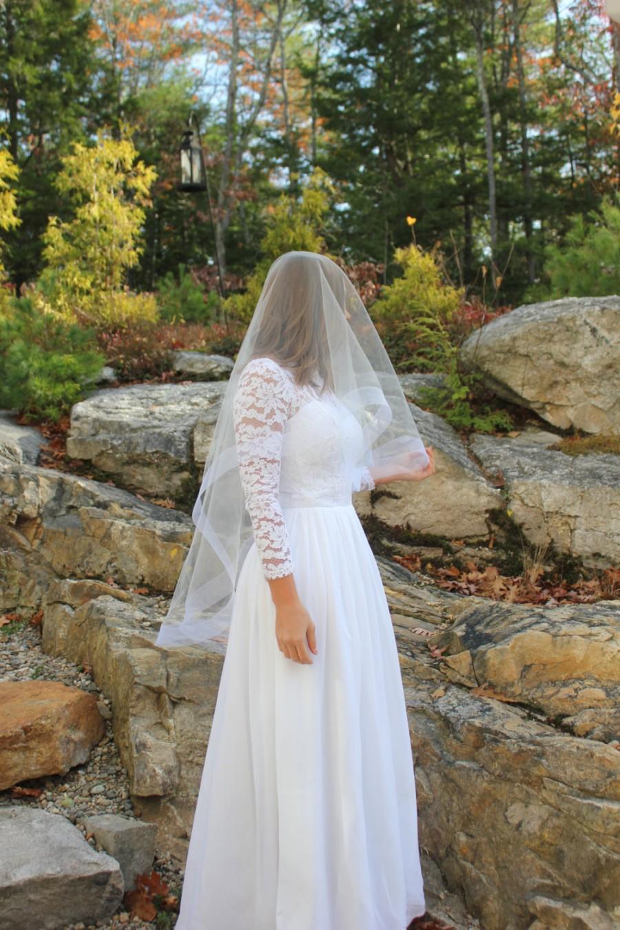 Hochzeit - 2 Inch Horsehair Veil, Cathedral Veil, HorseHair Edge Veil, Blusher Veil, Drop Veil, Champagne Veil, Ivory Veil, White Veil, READY TO SHIP