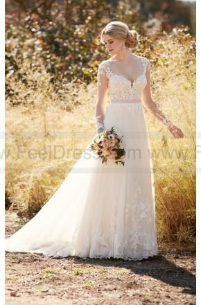 Hochzeit - Essense of Australia Illusion Lace Wedding Dress With Tulle Skirt Style D2038