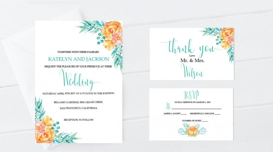 Hochzeit - Wedding Invitations PRINTABLE Elegant Floral Design, Wedding Invitations, Rustic Wedding Invitation, DIY Wedding Invite