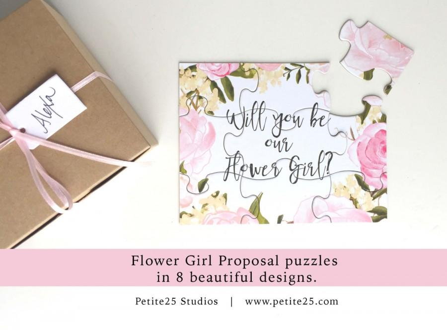 Will You Be My Flower Girl, Puzzle, Bridal Party Proposal, Flower Girl  Card, Watercolor Flowers, Pink Peonies  Party Proposal