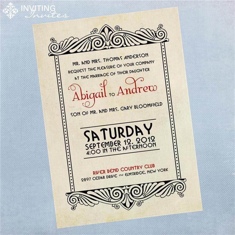 Свадьба - Art Deco Vintage Wedding Invitation - Printable Digital