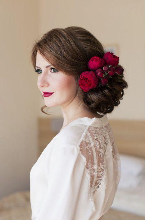 Hochzeit - Red Flower Hairpiece Low Updo Wedding Hairstyle