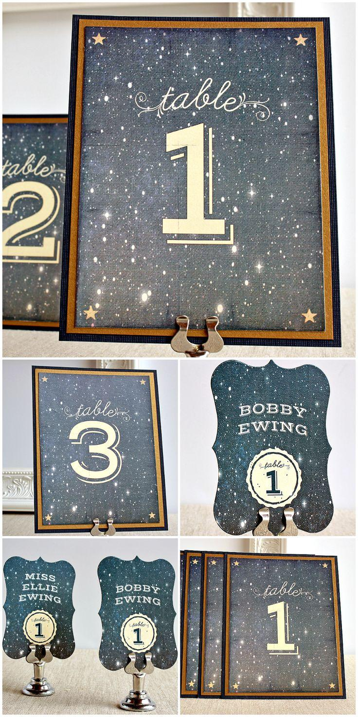 Свадьба - Starry Night Escort Place Card Vintage Wedding Watercolor Twilight Navy Blue Antique Gold