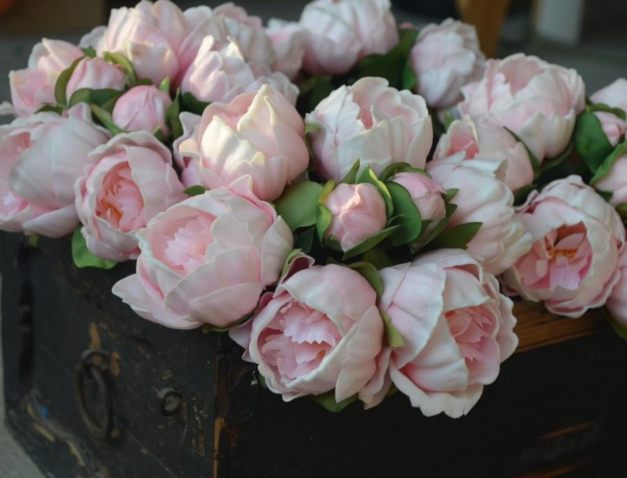 Свадьба - Real Touch Peony Bunch For Silk Bridal Bouquets Pink Burgundy Ivory Fuchsia Wedding Bouquets Real Touch Flowers
