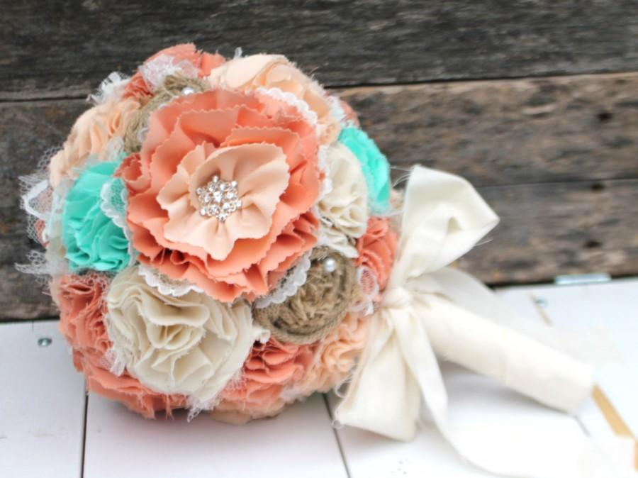 Mariage - Romantic rustic peach, mint, ivory and burlap bridal wedding bouquet. Shabby chic fabric flowers. Ombre style