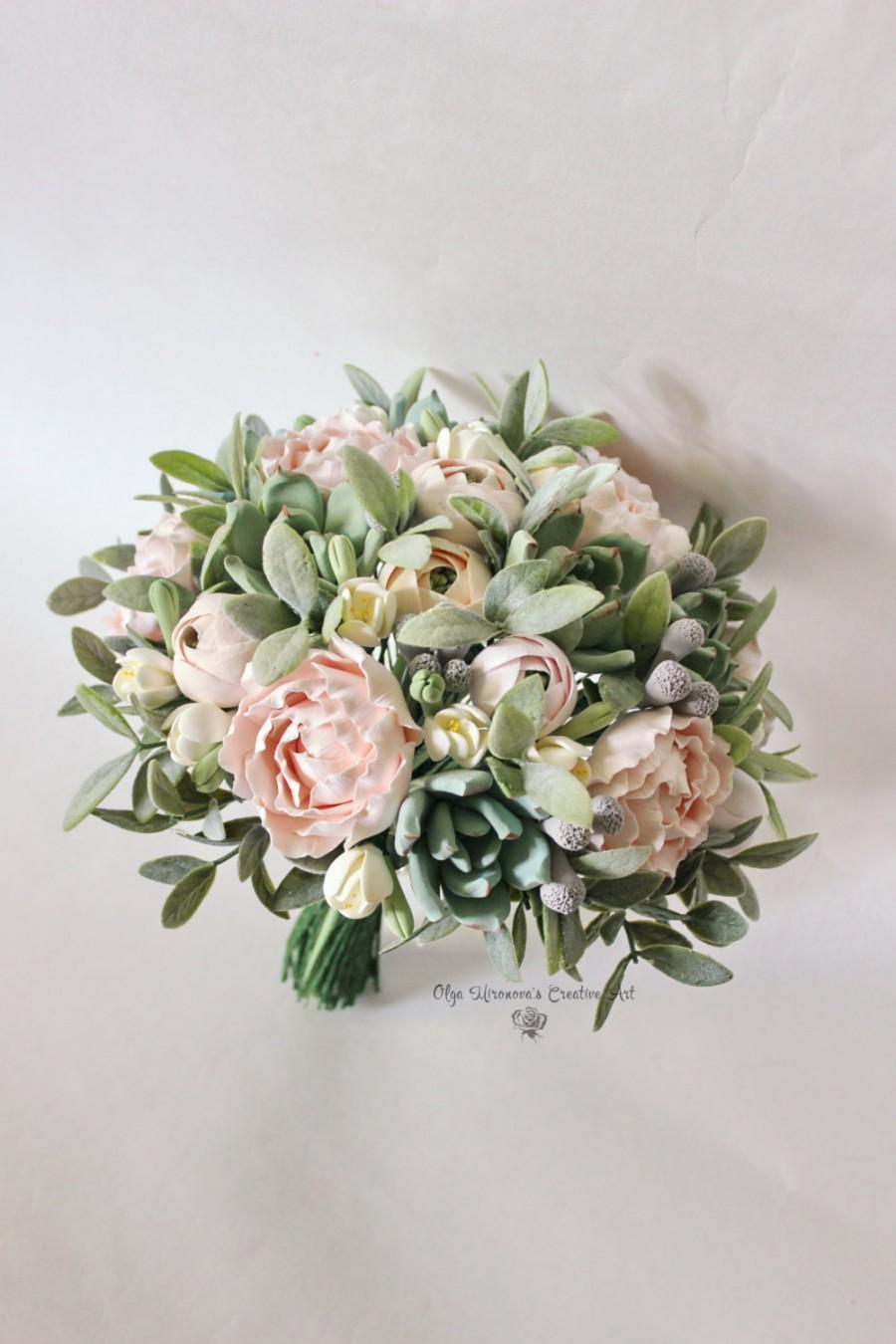 Свадьба - Alternative wedding bouquet Keepsake succulent bouquet Bohobouquet Bridal bouquet with succulents and peonies Blush pink clay bouquet