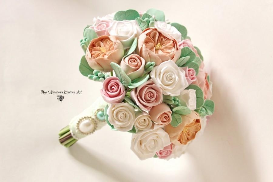 Свадьба - Alternative wedding bouquet Keepsake Peony rose bridal bouquet David Austin, garden rose bouquet Mint Peach designer Romantic clay bouquet