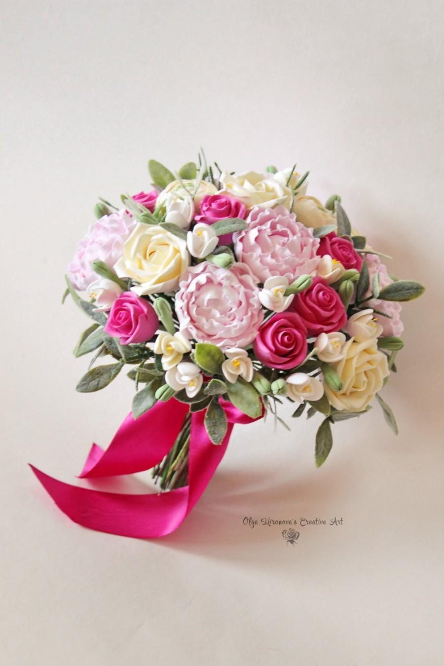 Свадьба - Alternative wedding bouquet Keepsake Bridal bouquet Pink Fuschia wedding bouquet Peony roses Wedding clay bouquet Ivory Pink Fuschia bouquet