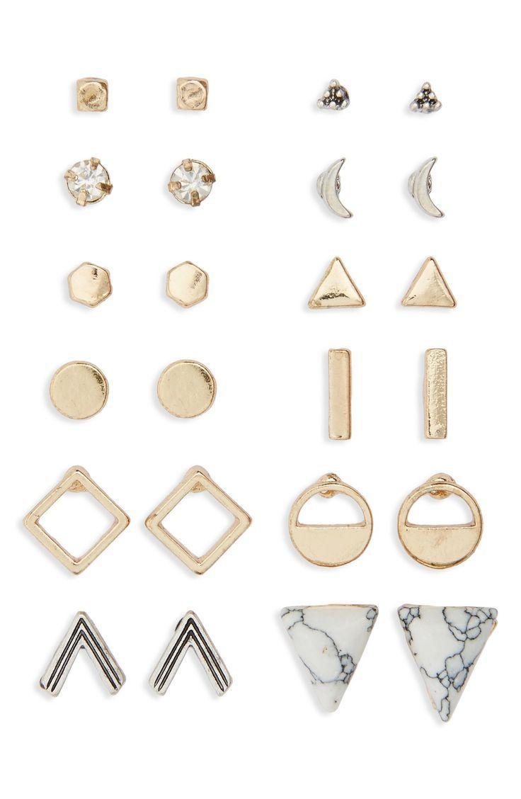 Mariage - Geometric Stud Earrings (Set Of 12)