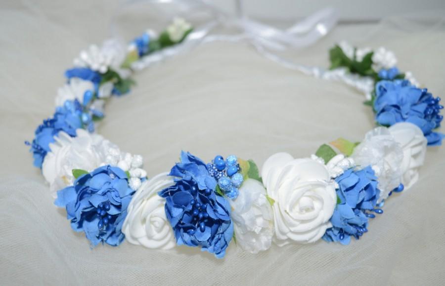 Wedding - White Floral Crown Blue Bridal headpiece Bridal floral crown Blue Wedding headpiece Bridal flower crown Wedding flower crown Bridal headband