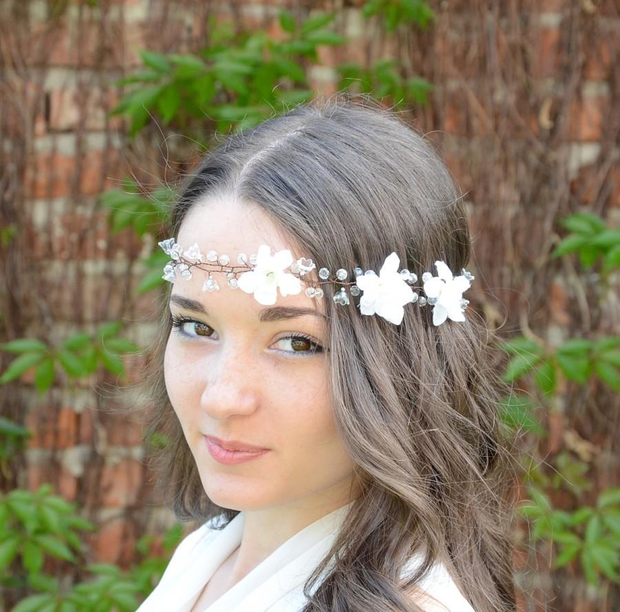 Bohemian Wedding Headband Wedding Halo White Flower Crown Bridal