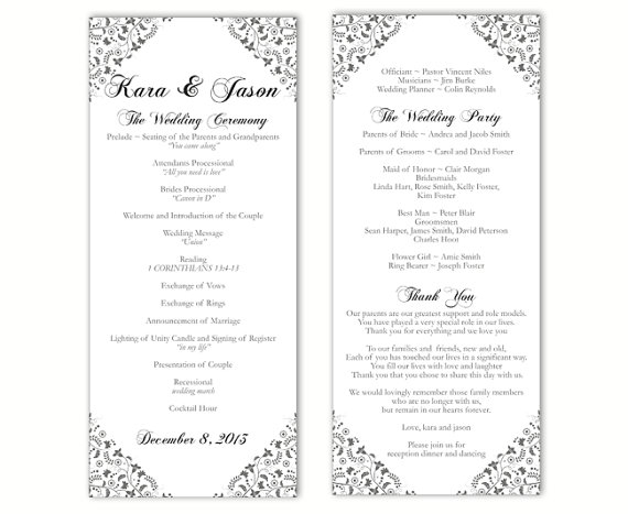 wedding program template diy editable word file instant download