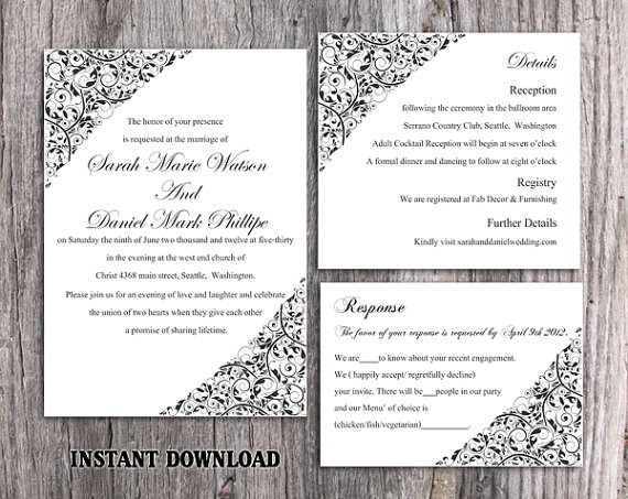 Hochzeit - DIY Wedding Invitation Template Set Editable Word File Instant Download Printable Invitation Black Wedding Invitation Elegant Invitation