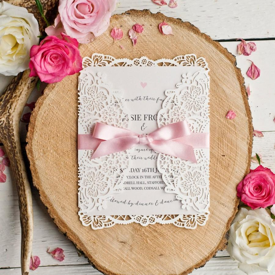 Hochzeit - Alice Vintage Inspired Laser Cut Wedding Invitation - Minimum order 30