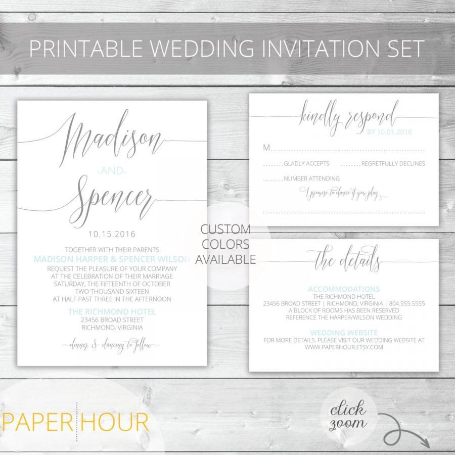 Hochzeit - Light Blue/Gray Printable Wedding Invitation Set