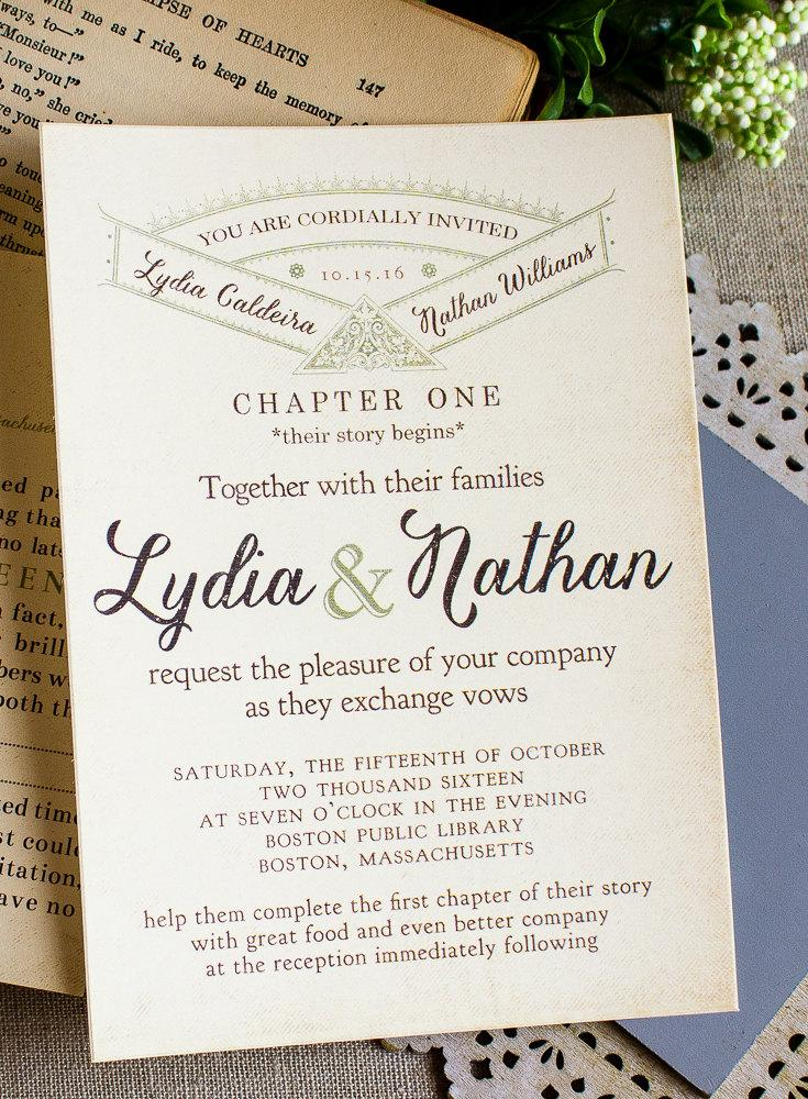 Vintage Story Book Wedding Invitation -literary Wedding - Library ...