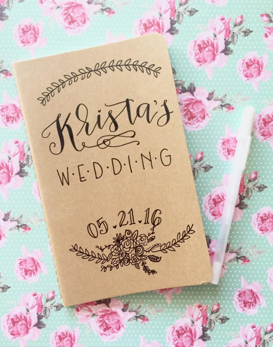 Wedding Planning Notebook Journal Planner Hand Lettered Personalized