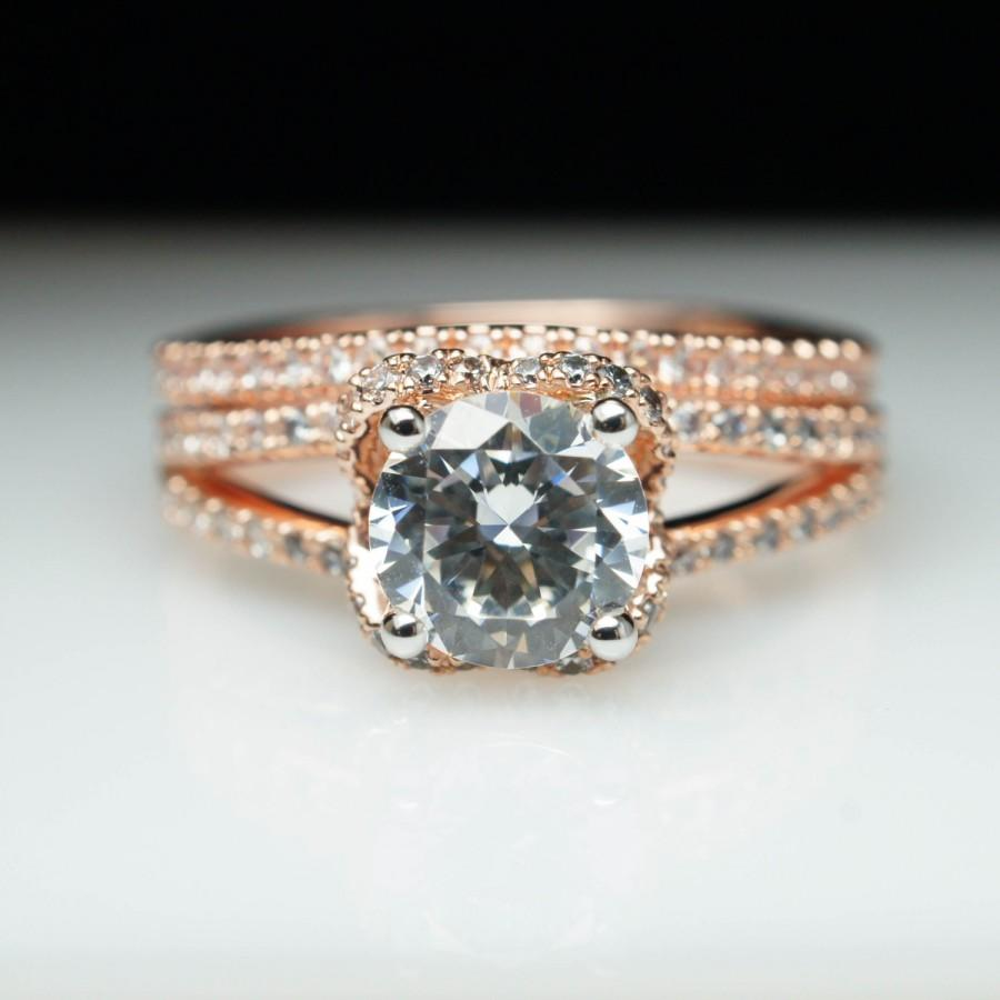 Rose Gold Halo Split Shank Diamond Engagement Ring Wedding Band