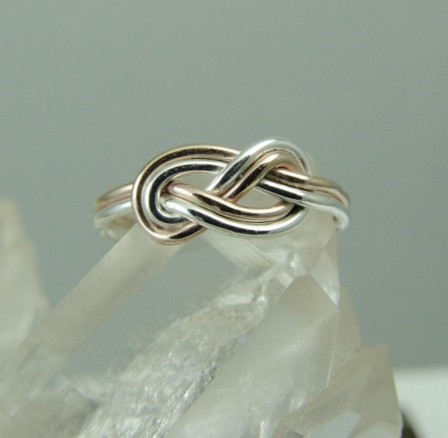 Rose Gold Filled And Silver Celtic Knot Ring Endless Knot Figure