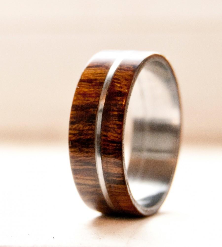 Mariage - Mens Wedding Band Wood w/ Metal Inlay Wedding Ring - Staghead Designs