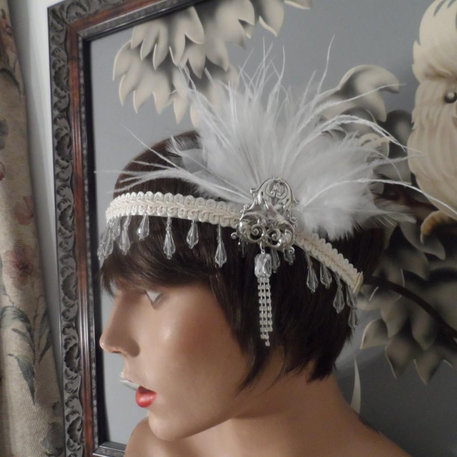 Hochzeit - GREAT GATSBY headpiece headband fascinator hair accessories the great gatsby ivory roaring 20's wedding headband wedding accessories flapper