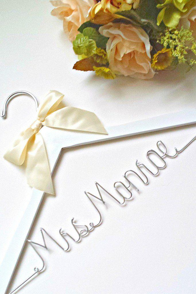 Mariage - Custom Bridal Wedding Hanger - With The Brides Future Last Name - Fast Shipping
