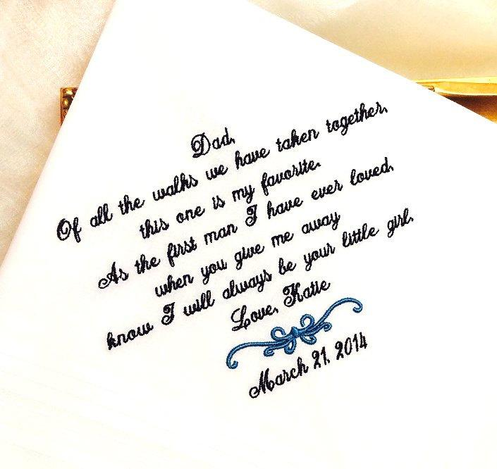 Mariage - Father of The Bride Handkerchief -Hankie - Hanky - FAVORITE WALK - Gift for Father of the Bride - Wedding - Abbe' Designs