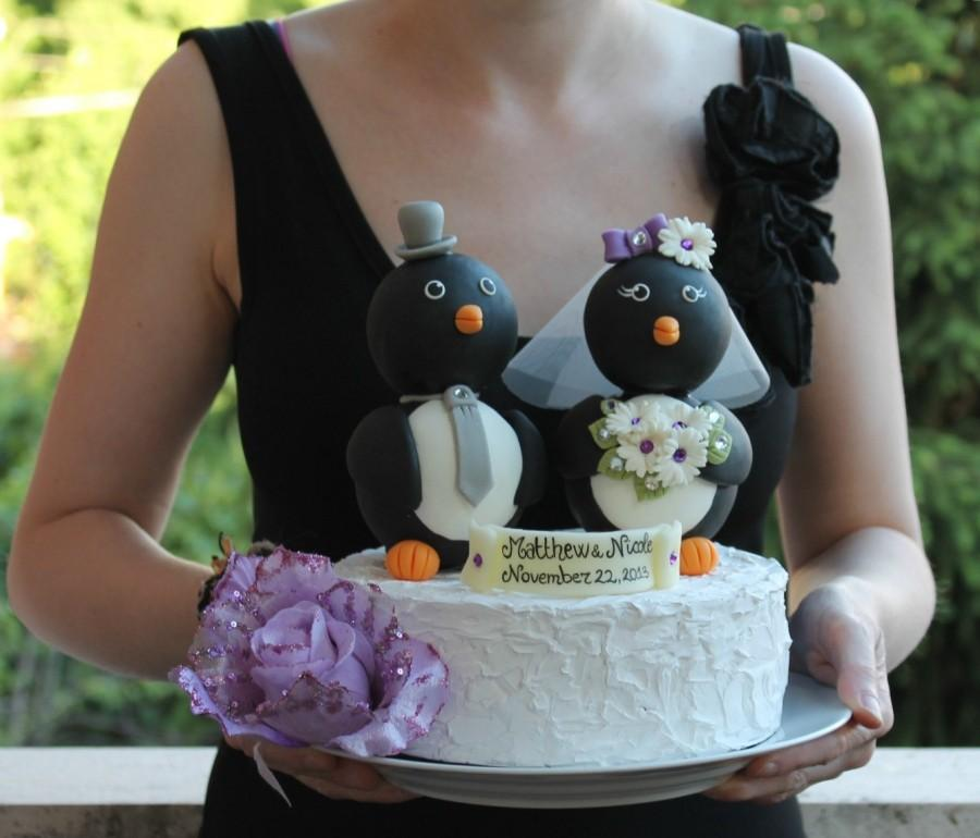 "Свадьба - Penguin wedding cake topper - love birds with banner, BIG 5"" tall, black and white wedding"