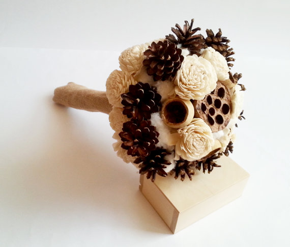 Wedding - READY to SHIP Cream rustic BOUQUET Ivory Flower pine cones bell cup burlap cotton autumn winter wedding sola roses woodland