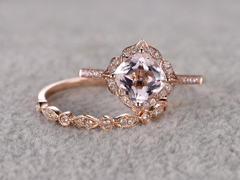 2pcs 8mm Morganite Bridal Ring SetEngagement Rose GoldDiamond Wedding Band14kCushion CutPromise RingRetro Vintage FloralArt Deco