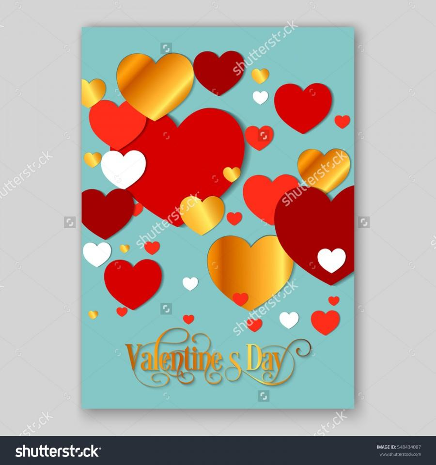 Happy Valentines Day Party Invitation Card Flyer With Red, Gold And ...