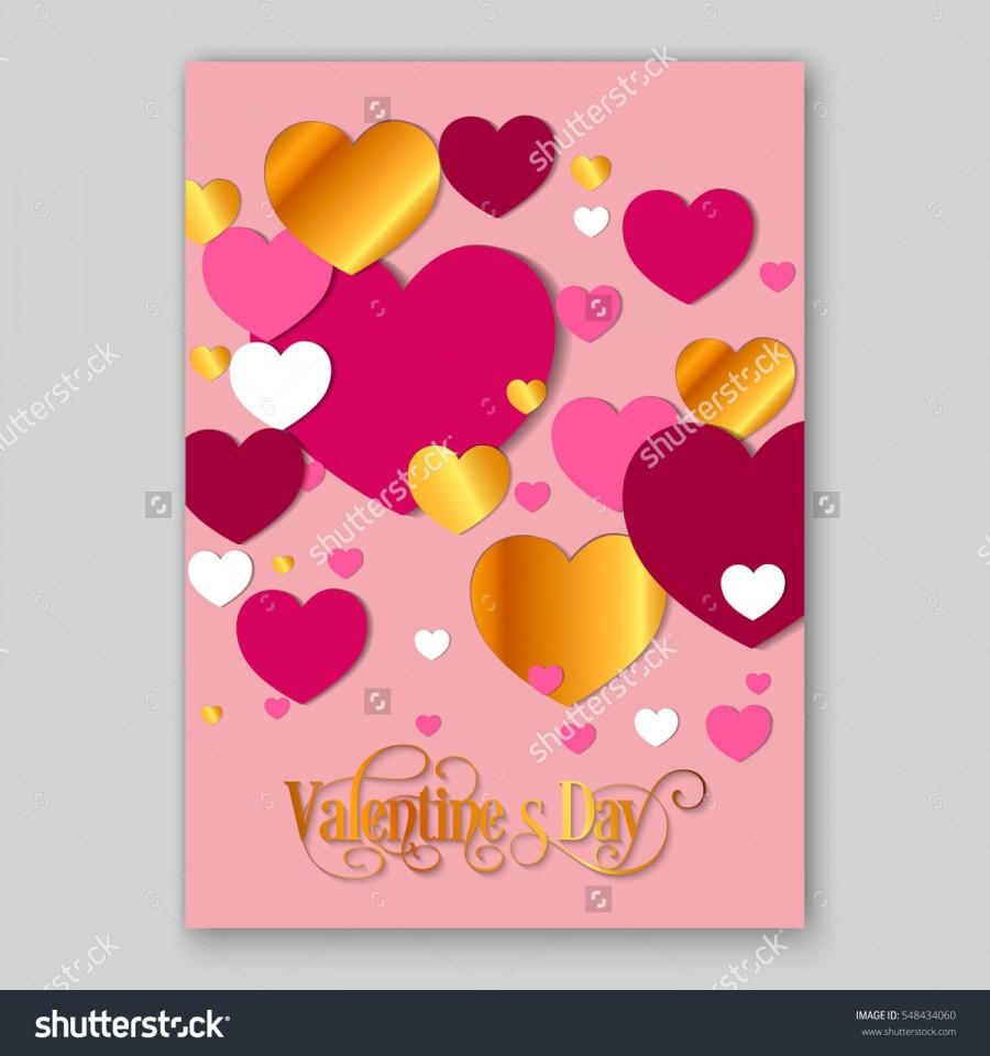 Happy Valentines Day Party Invitation Card Flyer With Red