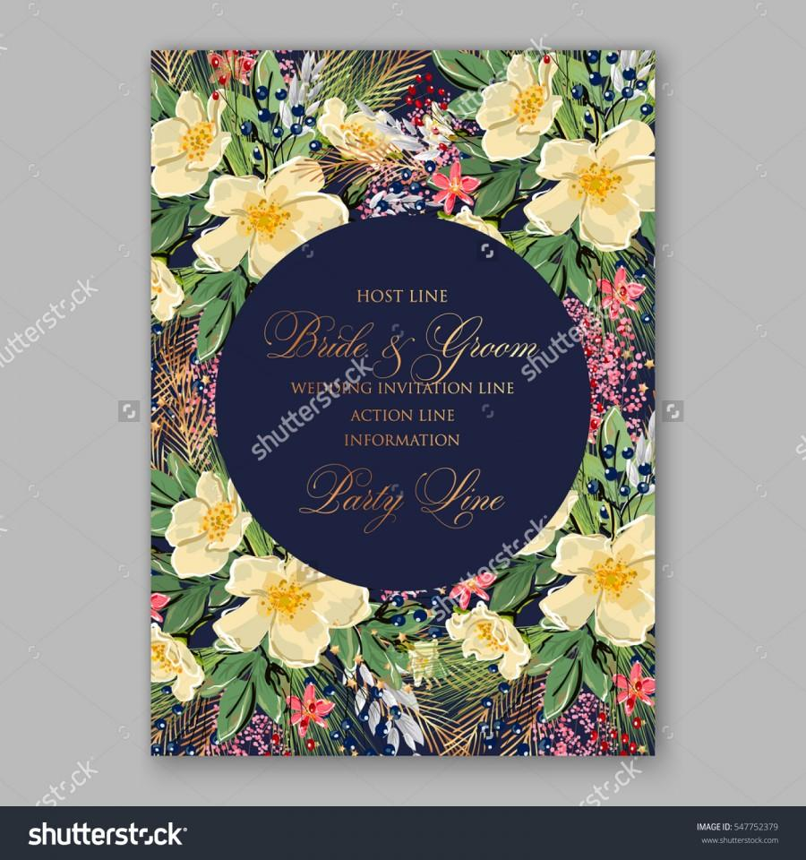 Romantic Anemone Wedding Invitation Floral Bridal Wreath With Yellow