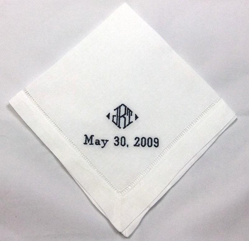 Mariage - Linen Mans Wedding Handkerchief Embroidered Personalized Hanky for Men No. HML403