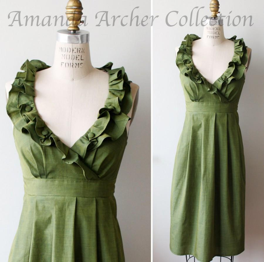 Wedding - Green Olive Dress, Bridesmaid, Made to Order, Cotton with pockets
