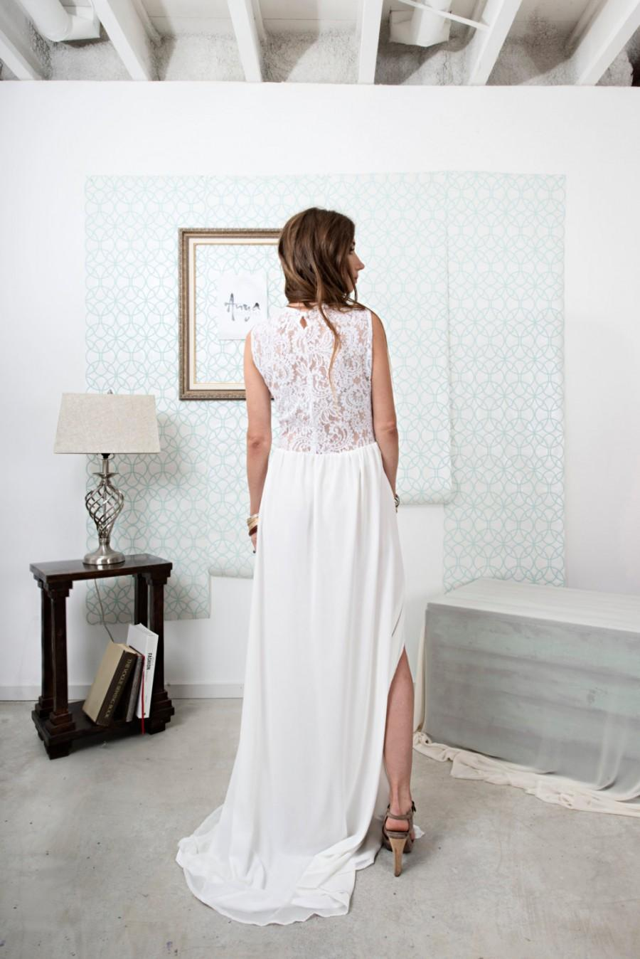 Wedding - Leewana Wedding Dress / Lace Bohemian Wedding Dress with  cut out neckline// illusion Back and Modern Boho Chiffon Skirt with Slit option