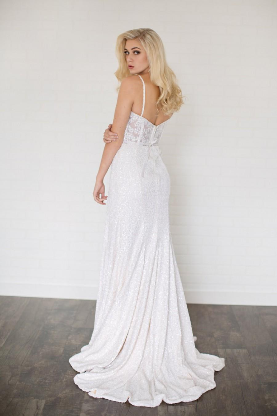 Wedding - Rue Wedding Dress// Fit and Flare Multi Sequin Wedding Dress//Illusion Back