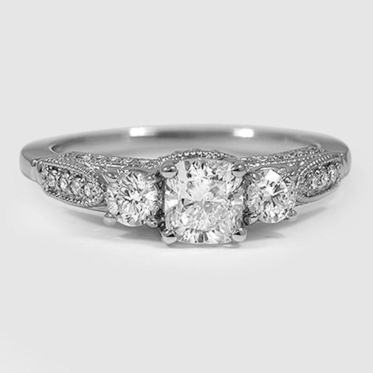 Свадьба - 18K White Gold Three Stone Heirloom Diamond Ring (1/2 Ct. Tw.)