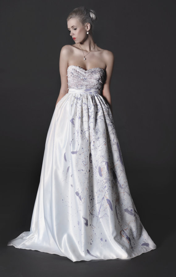 Sale one left of our strapless dove purple wedding dress for Painted on wedding dress