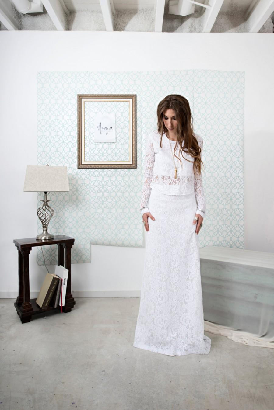 Wedding - Allirea / Lace Boho Wedding Dress Featuring a Long Sleeve with Gemstone Details